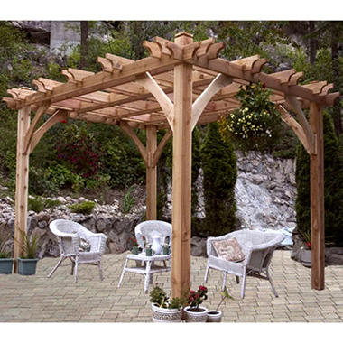 western red cedar pergola 12 39 x 12 39 sam 39 s club. Black Bedroom Furniture Sets. Home Design Ideas