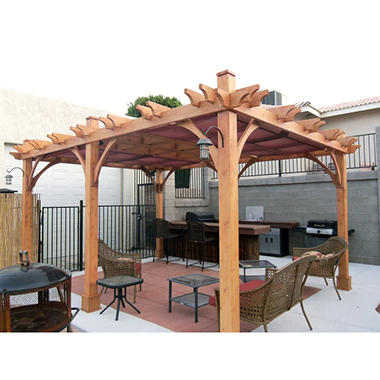 western red cedar pergola 12 39 x 16 39 sam 39 s club. Black Bedroom Furniture Sets. Home Design Ideas
