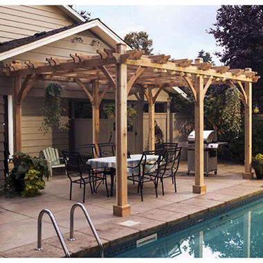 western red cedar pergola 12 39 x 20 39 sam 39 s club. Black Bedroom Furniture Sets. Home Design Ideas