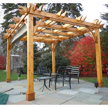 10 ft. x 10 ft. Cedar Breeze Pergola with Canopy