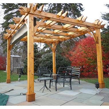 10 ft. x 10 ft. Cedar Breeze Pergola with Canopy