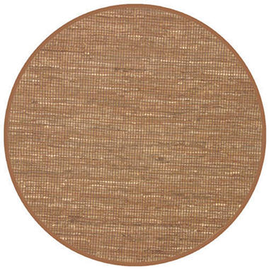 Hand Woven Leather/Dhurry Round Rug - 5' - Brown