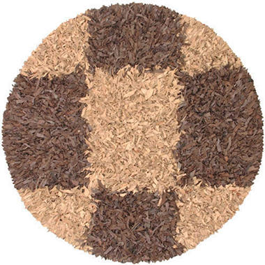 Hand Woven Leather Shag Round Rug - 8' - Espresso