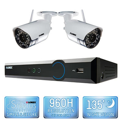 Lorex 4 Channel Wireless Security System with 500GB Hard Drive, 2 480TVL Cameras, and 90/135' Night Vision