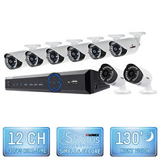 Lorex 12 Channel 960H Security System with 2TB Hard Drive, 8 900TVL Weatherproof Bullet Cameras, and 130' Night Vision