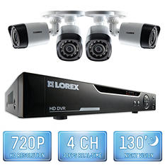 Lorex 4 Channel 720p Security System with 1TB Hard Drive, 4 720p Weatherproof Bullet Cameras, and 130' Night Vision