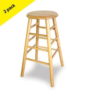 "24"" Wood Barstool - Natural - 2 pk."