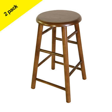 "24"" Wood Barstool -  Walnut - 2 pk."