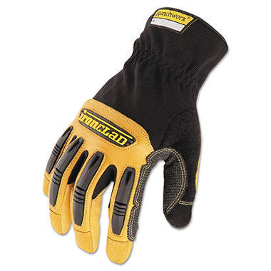 Ironclad Ranchworx Leather Gloves, Black/Tan (Large)
