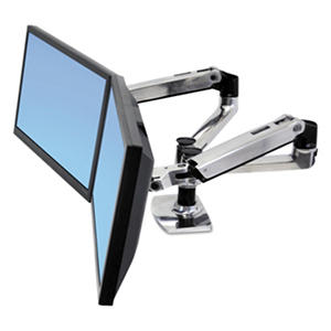 Ergotron LX Dual Side-by-Side Arm for WorkFit-D Sit to Stand Desk, Polished Aluminum/Black