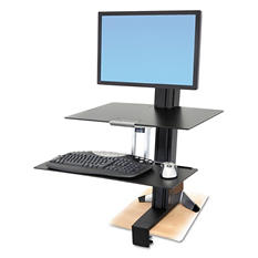 Ergotron WorkFit-S Sit-Stand Workstation with Worksurface, Aluminum/Black