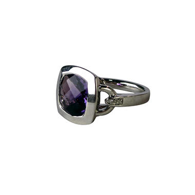AMETHYST 925 RING CUSHION & DIA ACCENT
