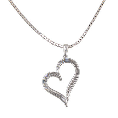 0.10 ct. t.w. Diamond Heart Pendant in Sterling Silver (H-I, I1)