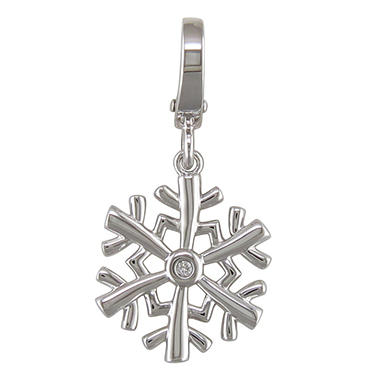 Diamond Accent Charm in Sterling Silver - Snowflake