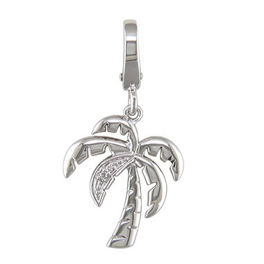 Diamond Accent Charm in Sterling Silver - Palm Tree