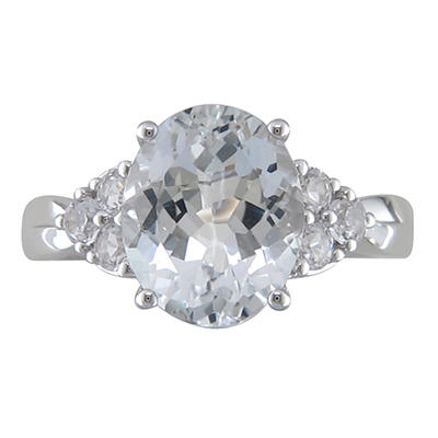 White Topaz and Created White Sapphire Ring in 14K White Gold