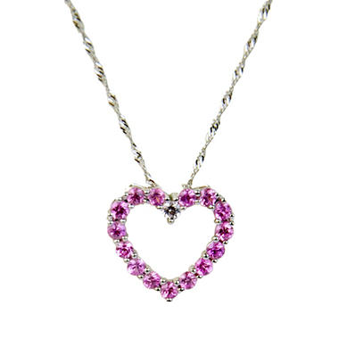 Pink and White Sapphire Accent Heart Pendant in 14K White Gold