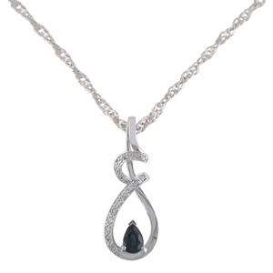 Blue Sapphire and Diamond Pendant in 14K White Gold (H-I, I1)