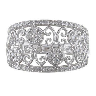 0.45 CT. T.W. Diamond Flower Scroll Ring in 14K White Gold (H-I, I1)