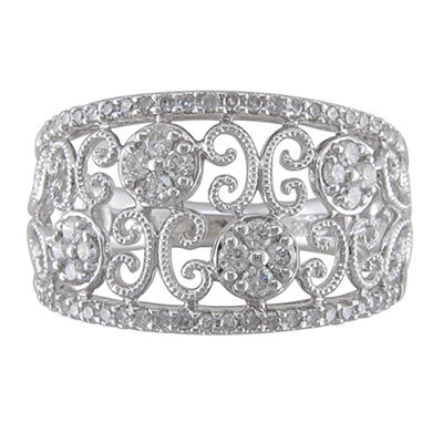 0.45 CT. T.W. Diamond Flower Scroll Ring in 14K White Gold (H-I, I1)