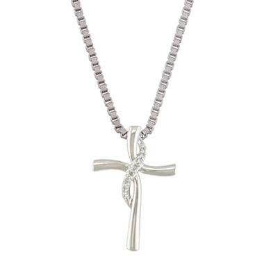 0.10 CT. T.W. Diamond Cross Pendant in Sterling Silver (H-I, I1)
