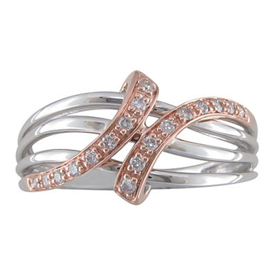 0.15 CT. T.W. Diamond Crossover Ring in 14K White and Pink Gold (H-I, I1)