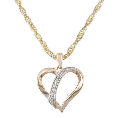 Diamond Accent Heart Pendant in 14K White and Yellow Gold (H-I, I1)