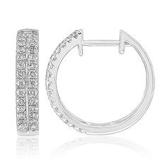 0.50 CT. T.W. Double Row Hoop Earrings in 14K White Gold (H-I, I1)
