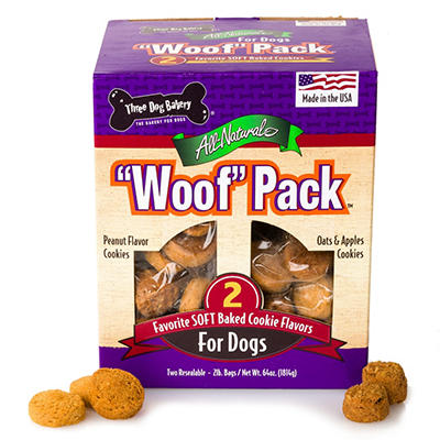 "Three Dog Bakery ""Woof"" Pack Dog Treats - 4 lbs."