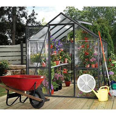 EasyGrow Black Frame Greenhouse - 6' x 8'
