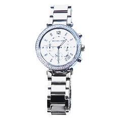 Michael Kors Women's Parker Pavé Silver-Tone Chronograph Watch