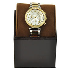 Michael Kors Women's Parker Pavé Two-Tone Chronograph Watch