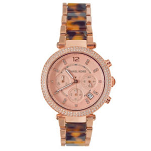 Women's Parker Rose Gold-Tone and Print Watch by Michael Kors