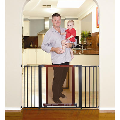 "Dreambaby Metropolitan Gate Double Pack (Includes Two 2.5"" and Two 7"" Extensions in Cherry with Charcoal Frame)"