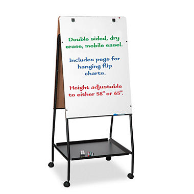 "Balt Wheasel Easel Adjustable Melamine Dry Erase Board - 28 3/4"" x 59 1/2"" - White"