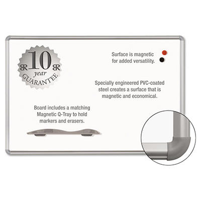"""Best-Rite 96"""" x 48"""" Magne-Rite Magnetic Dry Erase Board, White with Silver Frame"""