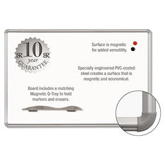 "Best-Rite 96"" x 48"" Magne-Rite Magnetic Dry Erase Board, White with Silver Frame"
