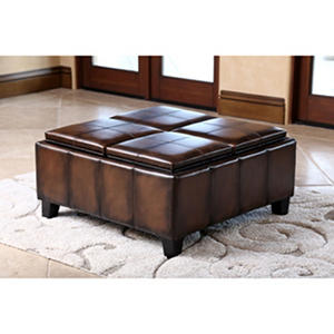 Henry Leather Ottoman with 4 Serving Trays (Assorted Colors)