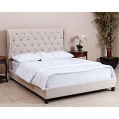 Chesney Tufted Beige Upholstered Platform Bed, Queen/Full