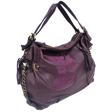 Marco Avane Soft Leather Hobo with Embroidery in Mulberry