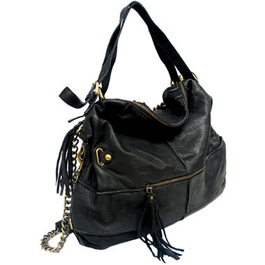 Marco Avane Soft Leather Chain Hobo Bag in Black