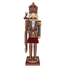 2.5' Wooden Nutcracker - Houndstooth and Copper