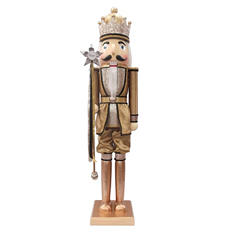 3.5' Wooden Nutcracker - Gold and Silver