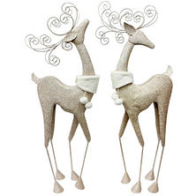 Holiday Time 2-Piece Fanciful Metallic Deer Set with Faux-Fur Collar