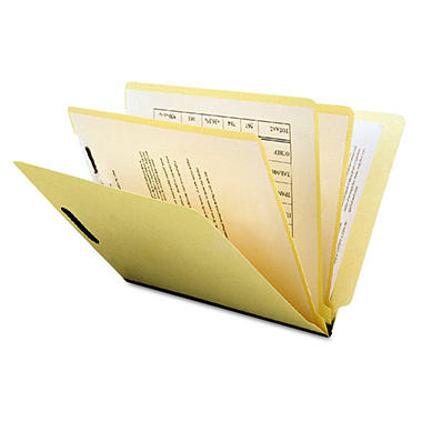 S J Paper - MLA End Tab Classification Folder, Straight Tab, Letter, Six-Section - 25 Pack