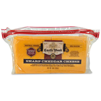 Castle Wood Reserve Sharp Yellow Cheddar Natural Deli Sliced Cheese - 2 lbs.