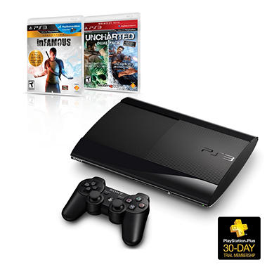 Playstation 3 250GB Console with Uncharted Dual Pack and inFamous Collection
