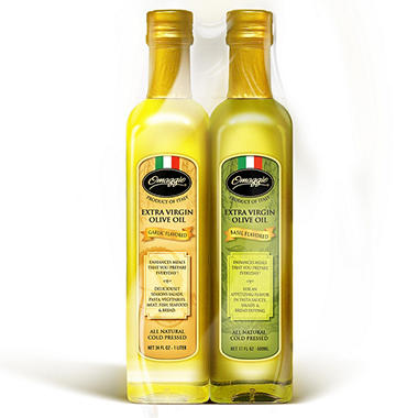 Omaggio Garlic and Basil Flavored Extra Virgin Olive Oil - 500mL - 2 ct.