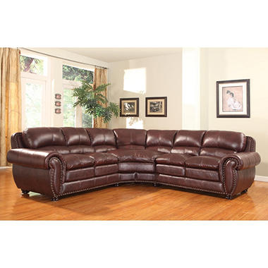 Nathan 2-piece Leather Sectional by Leather Italia USA