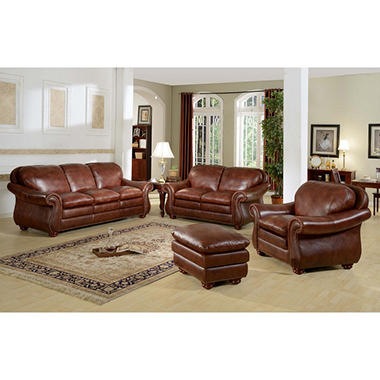 Benjamin Leather Living Room Set - 4 pc. by Leather Italia USA